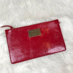 Authentic Red Bottega Veneta Pouch Clutch